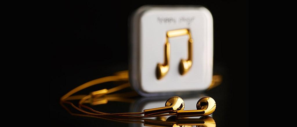 Fones de ouvido que valem ouro