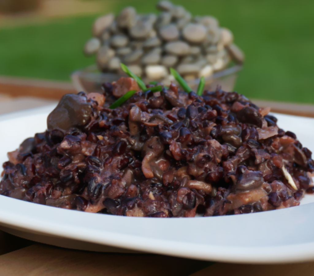 Risoto de shimeji com arroz negro