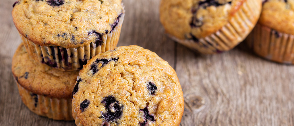 Muffin de blueberry e chia